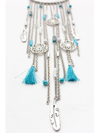 Ethnic Style Link Chain Tassel Necklace - WHITE GOLDEN  Mobile