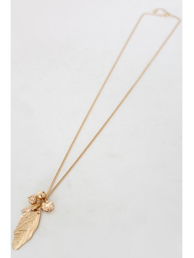 Solid Color Leaf Sweater Chain - GOLDEN  Mobile