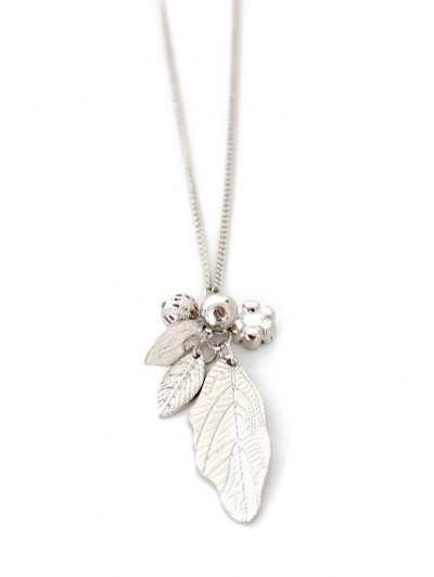 Solid Color Leaf Sweater Chain - SILVER  Mobile