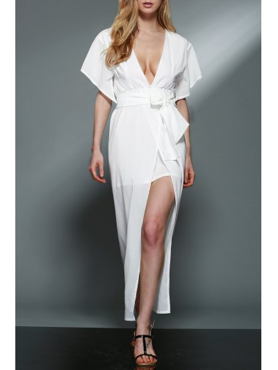Plunging Neck Layered White Chiffon Dress - WHITE S Mobile