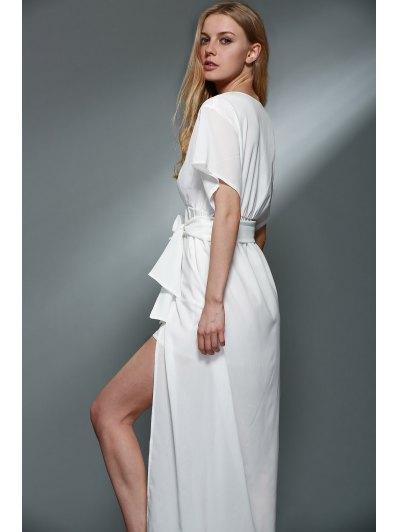 Plunging Neck Layered White Chiffon Dress - WHITE M Mobile