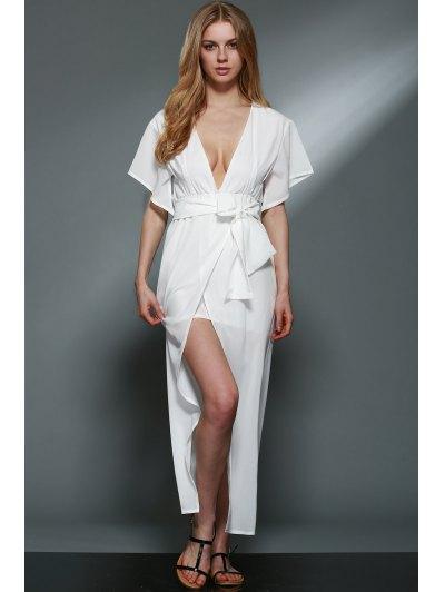 Plunging Neck Layered White Chiffon Dress - WHITE XL Mobile