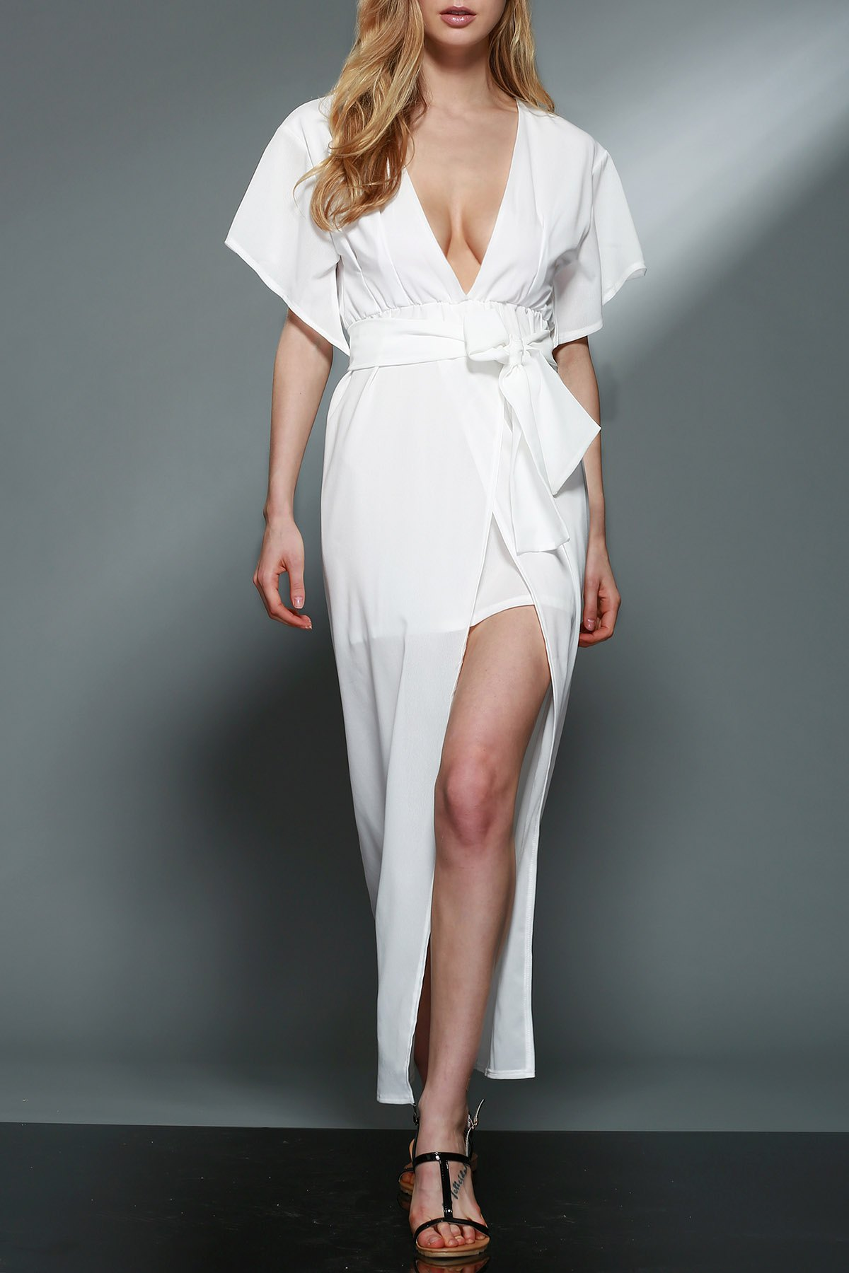 Plunging Neck Flare Sleeve Layered White Chiffon Dress