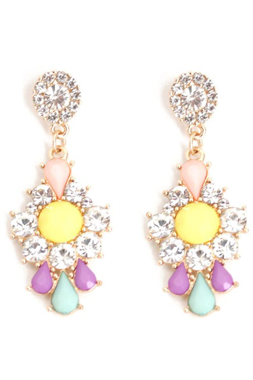 Pair of Delicate Rhinestone Floral Drop Earrings For Women