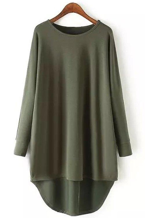 Round Collar Long Sleeve Irregular Hem T-Shirt