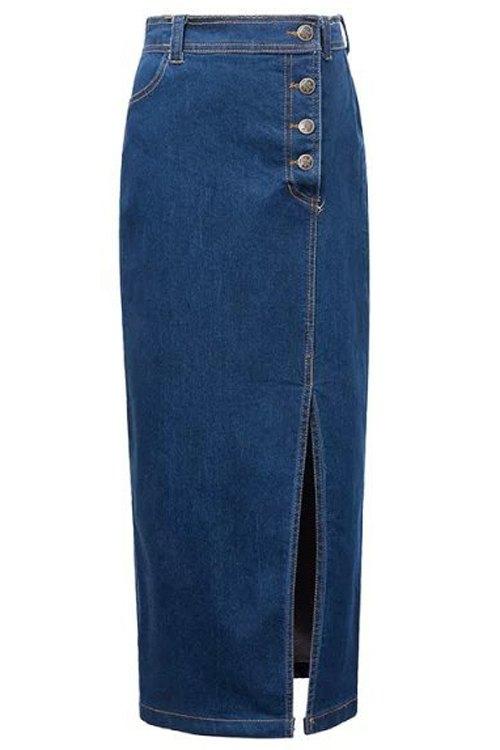 High Waisted High Slit Packet Buttock Skirt