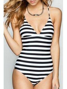 Striped Spaghetti Straps One Piece Swimwear