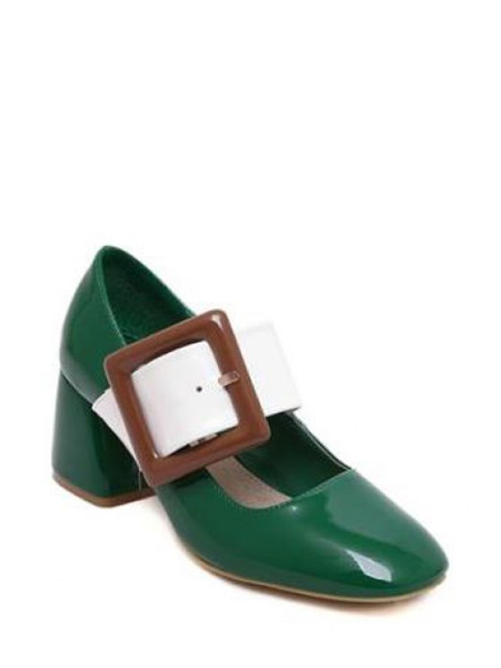 Color Block Buckle Square Toe Pumps - GREEN 38 Mobile