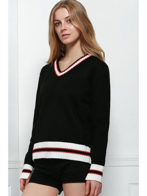 Holgada con cuello en V suéter manga larga - Negro L