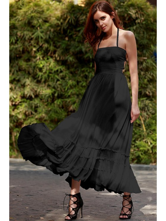 trendy Solid Color Open Back Halter Sleeveless Dress - BLACK S