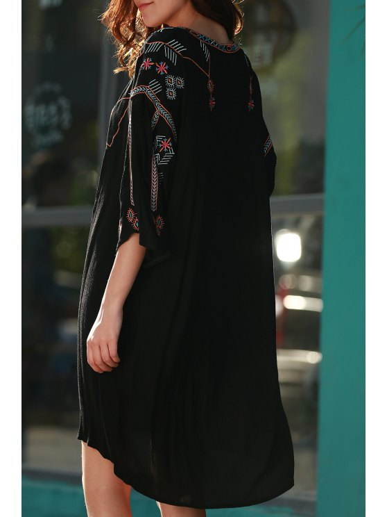 Retro Embroidery V-Neck Half Sleeve Dress - BLACK ONE SIZE(FIT SIZE XS TO M) Mobile