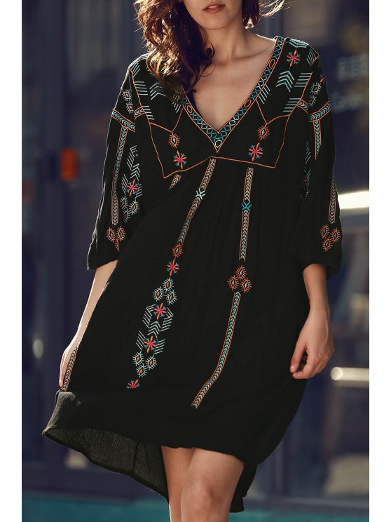 women Retro Embroidery V-Neck Half Sleeve Dress - BLACK ONE SIZE(FIT SIZE XS TO M)