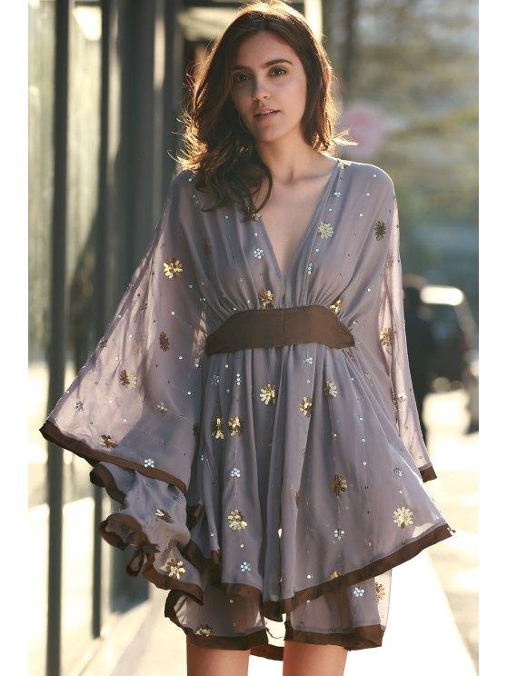 Golden Silver Sequins Dress - PURPLE M Mobile