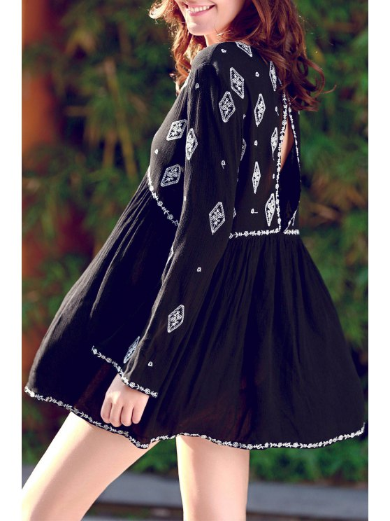 womens Retro Embroidery V-Neck Long Sleeve Dress - BLACK ONE SIZE(FIT SIZE XS TO M)