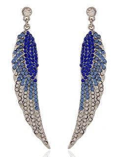 Rhinestoned Wing Shape Earrings - Sapphire Blue