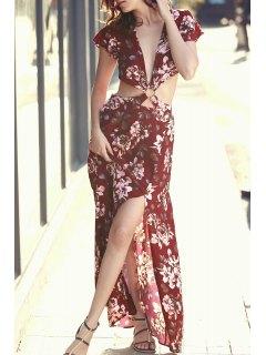High Slit Plunging Neck Short Sleeve Floral Print Dress - Red L