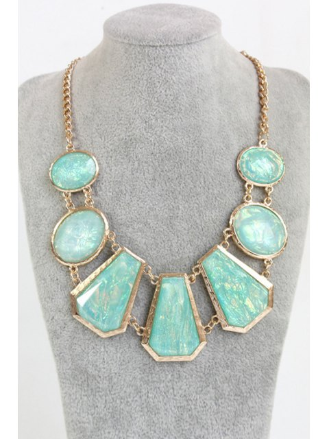 affordable Geometric Faux Gemstone Necklace - GOLDEN  Mobile