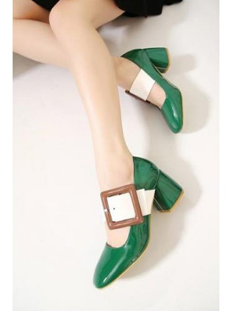 chic Color Block Buckle Square Toe Pumps - GREEN 37 Mobile