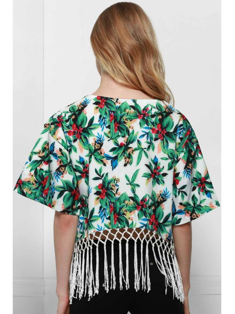 Floral Print col rond manches demi Franges Blouse - Blanc S Mobile