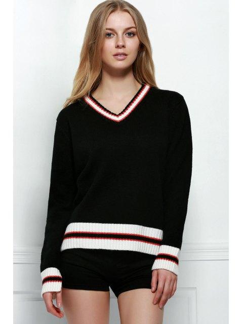 trendy Loose Fitting V-Neck Long Sleeve Sweater - BLACK L Mobile