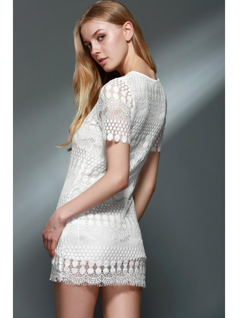 latest Solid Color Round Collar Short Sleeve Lace Blouse - WHITE 2XL Mobile