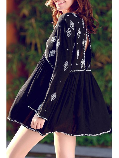 womens Retro Embroidery V-Neck Long Sleeve Dress - BLACK ONE SIZE(FIT SIZE XS TO M) Mobile