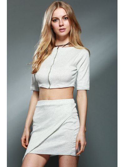 Half Sleeve Crop Top + Pencil Mini Skirt Twinset от Zaful.com INT