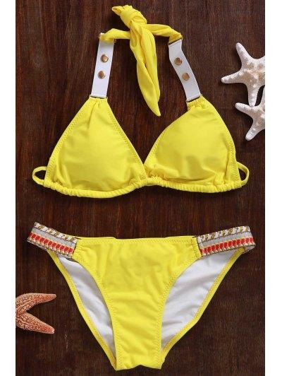 Lace Up Halter Bikini Set - Yellow