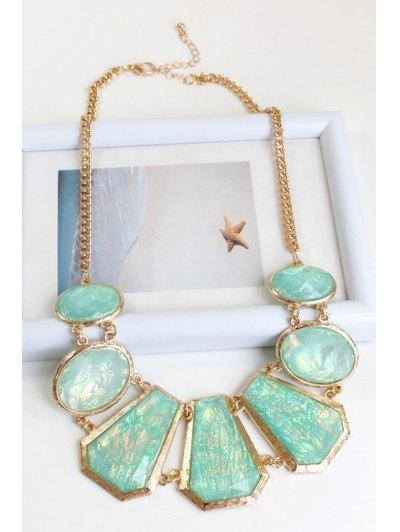Geometric Faux Gemstone Necklace - GOLDEN  Mobile