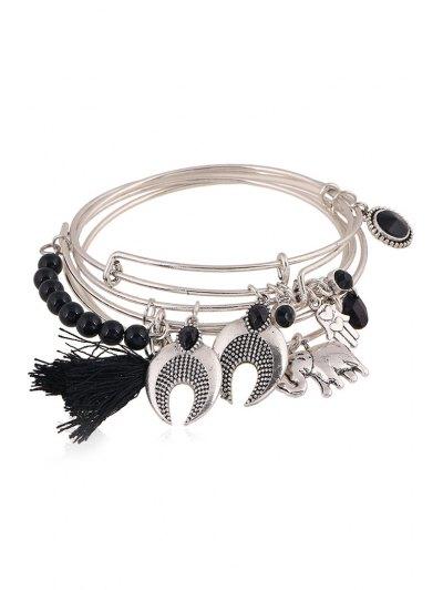 Ethnic Knitting Tassel Elephant Bracelet - BLACK  Mobile