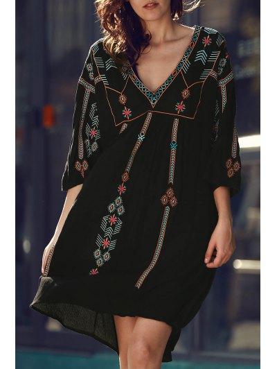 Retro Embroidery V-Neck Half Sleeve Dress - Black