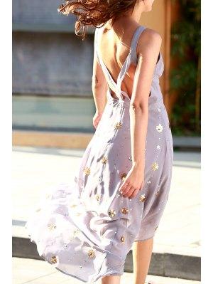 Bohemian Cutout Beaded Fall Love Dress - Purple L