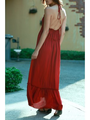 Blackless Halter Long Flowing Dress - Wine Red