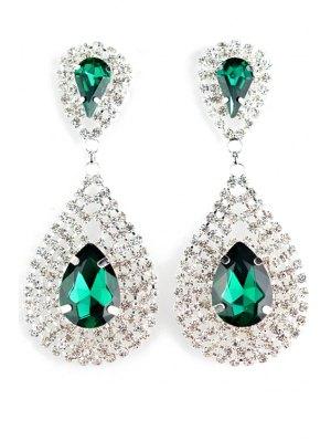 Pair Of Water Drop Faux Crystal Earrings - Green