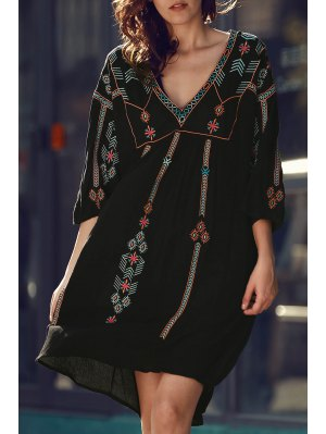 Retro Embroidery V-Neck Half Sleeve Dress - Black
