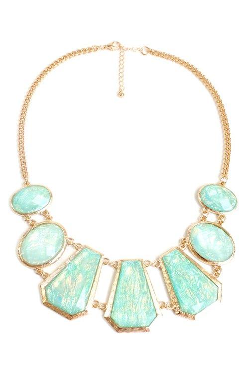 geometric faux gemstone necklace golden necklace zaful
