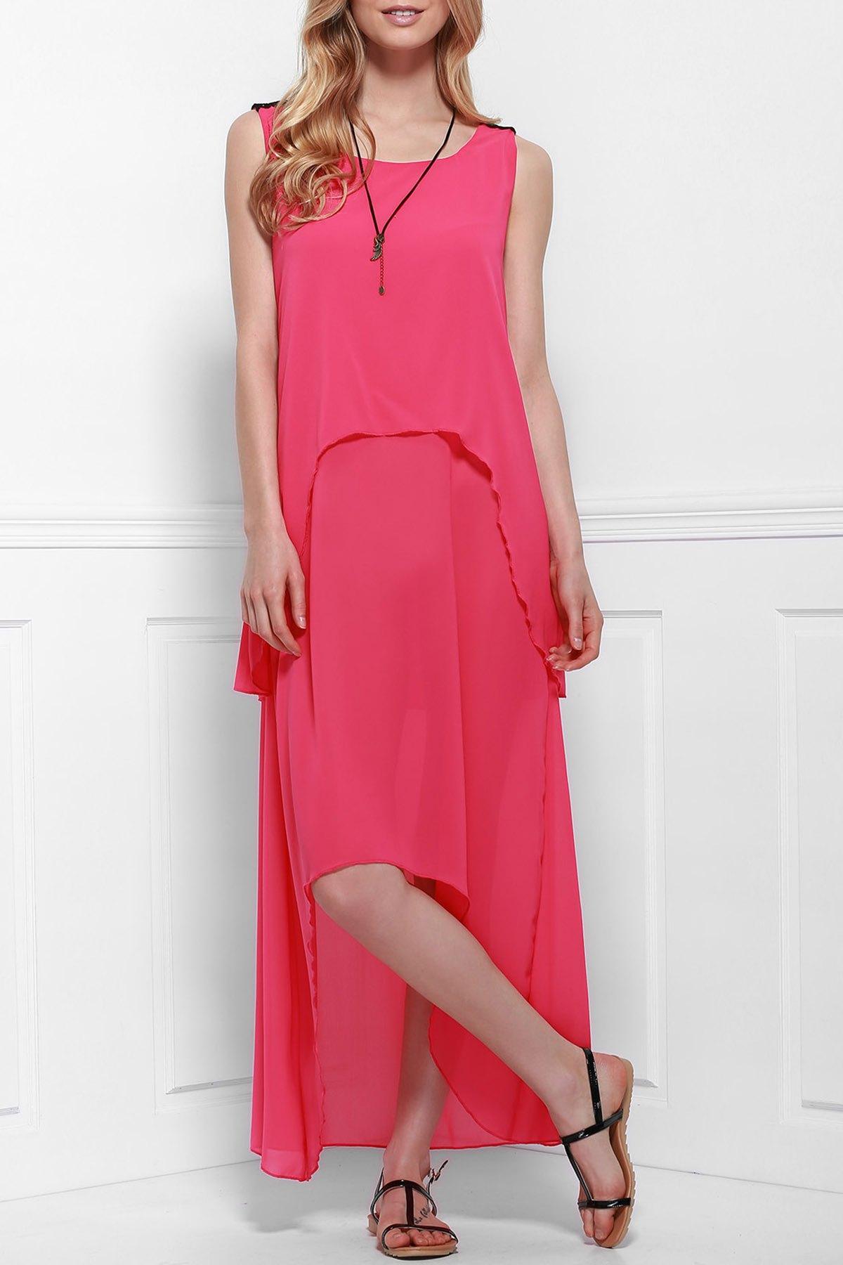 Round Neck Layered Irregular Hem Pink Chiffon Dress