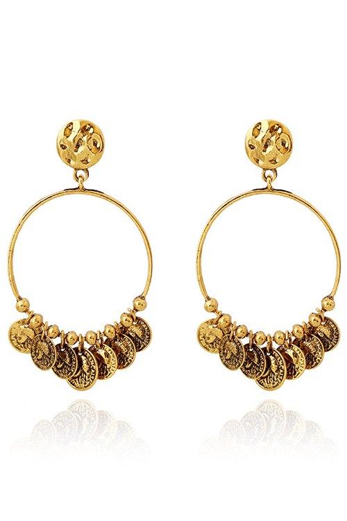 Circular Coin Tassel Earrings