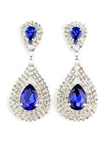 Pair Of Water Drop Faux Crystal Earrings - Sapphire Blue
