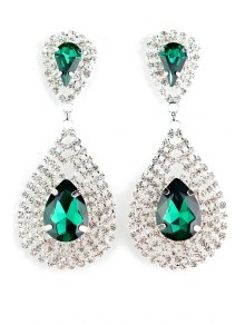 Pair Of Water Drop Faux Crystal Earrings - Green