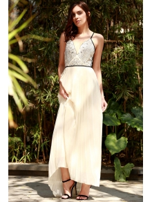 Embroidered Pleated Chiffon Flowing Dress