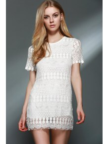 Solid Color Round Collar Short Sleeve Lace Blouse