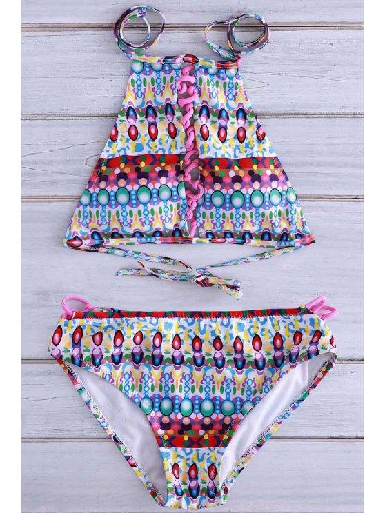 Halter Jewelry Print Bikini Set - GREEN M Mobile