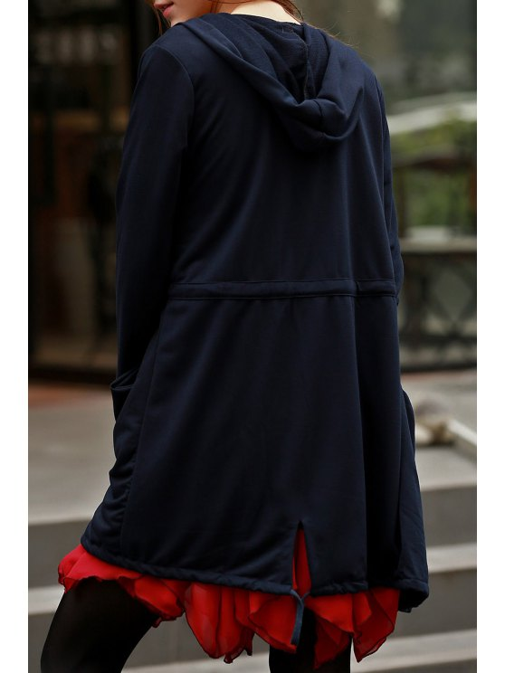 Solid Color Hooded Long Sleeve Drawstring Coat - BLACK XL Mobile