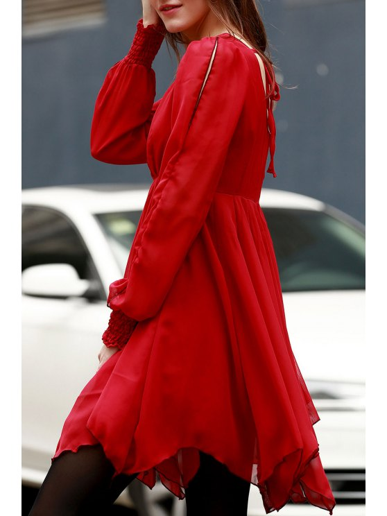 Long Sleeve Chiffon Flowing Dress - RED L Mobile