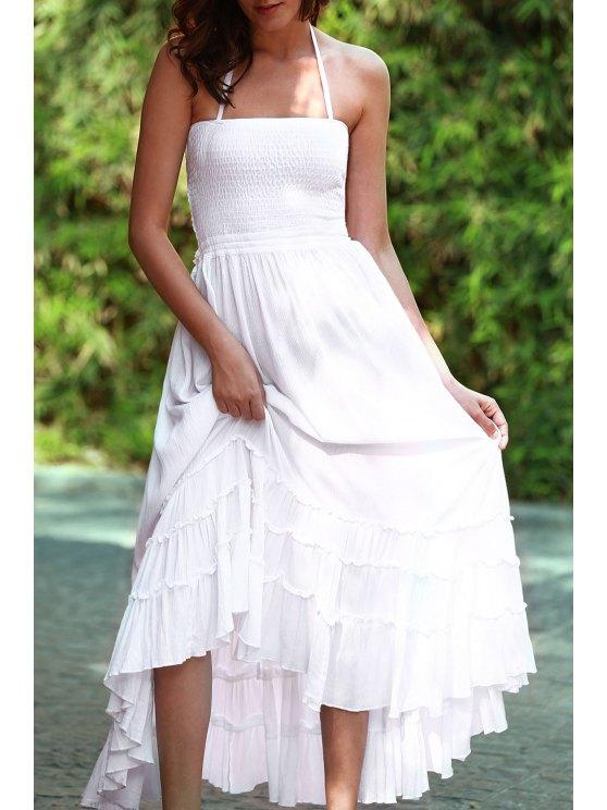 women's Solid Color Open Back Halter Sleeveless Dress - WHITE L