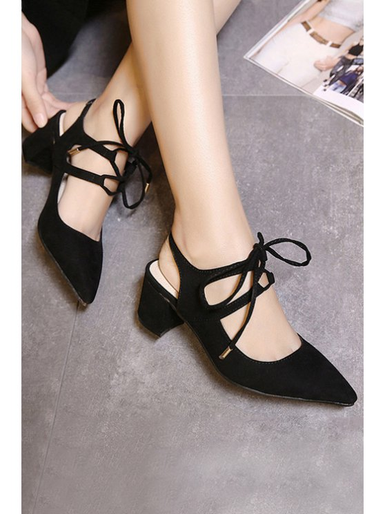 Slingback Lace-Up Pointed Toe Pumps - BLACK 39 Mobile