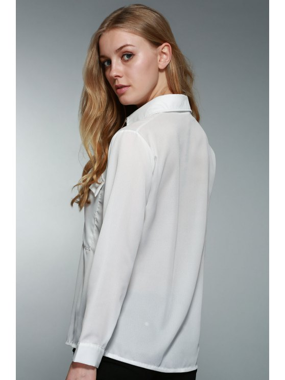 White Lace-Up Plunging Neck Long Sleeve Chiffon Sheer Blouse - WHITE S Mobile