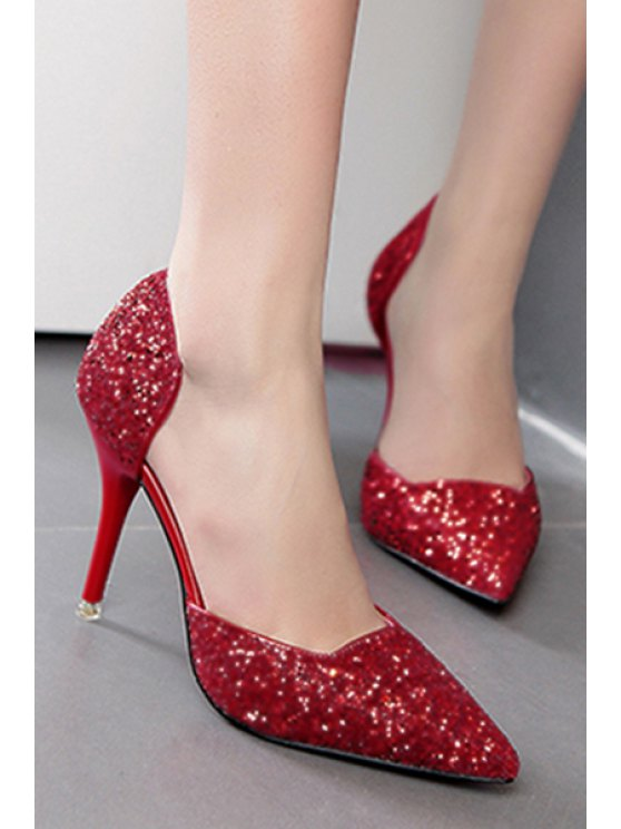 Sequins Two-Piece Pointed Toe Pumps - RED 38 Mobile