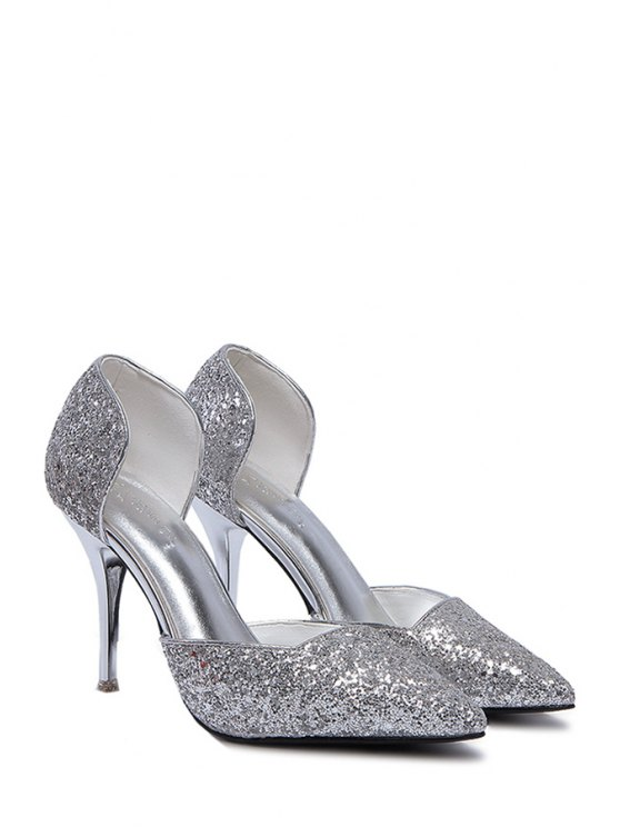 Sequins Two-Piece Pointed Toe Pumps - SILVER 38 Mobile